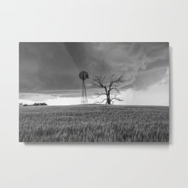 Blowing in the Wind - Black and White Windmill and Dead Tree with Storm in Oklahoma Metal Print
