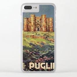 Apulia Castle del Monte vintage Italian travel ad Clear iPhone Case