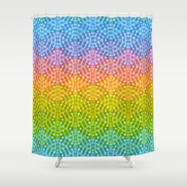 Bright colorful seamless pattern. Rainbow bright lilac pink green purple blue print Shower Curtain