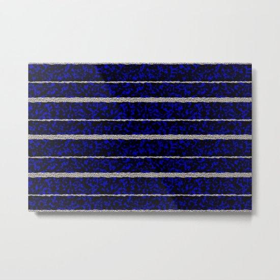 Silver Stripes with a Blue Plasma Background Metal Print