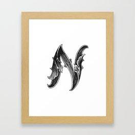 Leaf Script N Framed Art Print