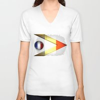 france V-neck T-shirts featuring France by ilustrarte