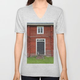 Old black cottage door Unisex V-Neck