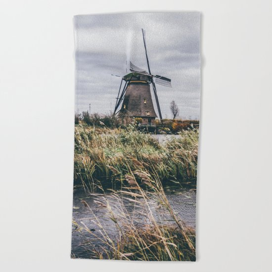 Kinderdijk Windmill Beach Towel