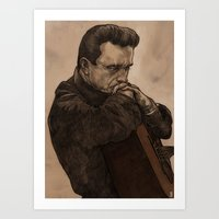 johnny cash Art Prints featuring Johnny Cash by Philipp Banken