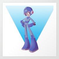 mega man Art Prints featuring Mega Man by Rootay