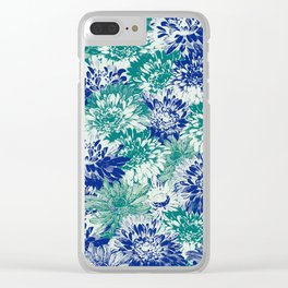 marguerites and chrysanthemums in blues Clear iPhone Case