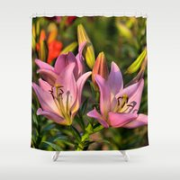 lily Shower Curtains featuring lily by Karl-Heinz Lüpke