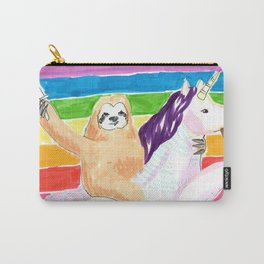 sloth and unicorn in rainbow Carry-All Pouch