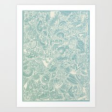 Detailed rectangle, light blue  Art Print