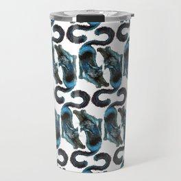 Black Blue Cat Stretching Drawing  Travel Mug