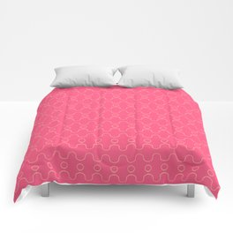 Pink and Yellow Curvy Pattern Comforters