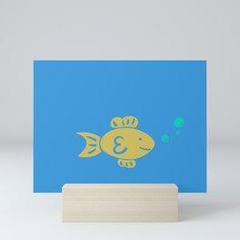 Goldfish on Blue Mini Art Print