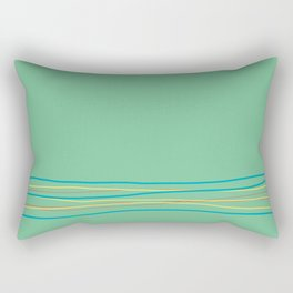 Green Aqua Red Yellow Scribble Line Design Bottom 2021 Color of the Year AI Aqua and Accent Shades Rectangular Pillow
