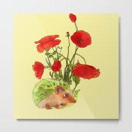 Hedgehog and Poppies Metal Print