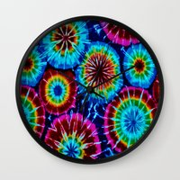 tie dye Wall Clocks featuring Tie Dye by gypsykissphotography