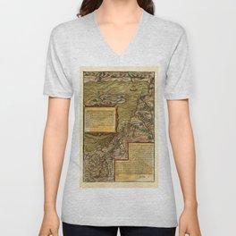 Map Of The Holy Land 1544 Unisex V-Neck