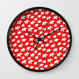 Stars on red background Wall Clock