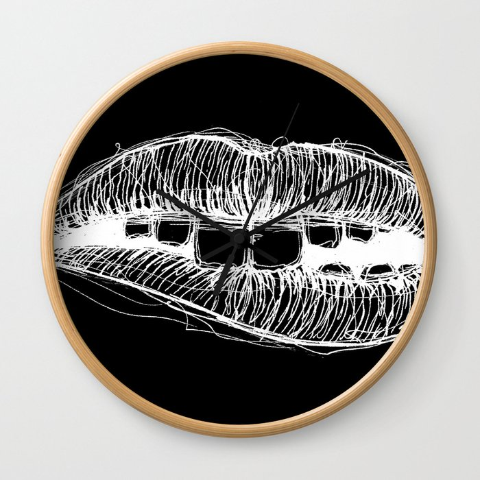 Sketchy Lips (White on Black) Wall Clock