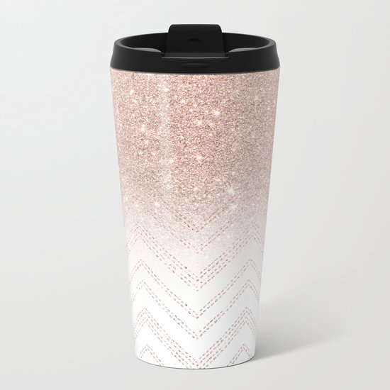 Modern faux rose gold glitter ombre modern chevron stitches pattern Metal Travel Mug