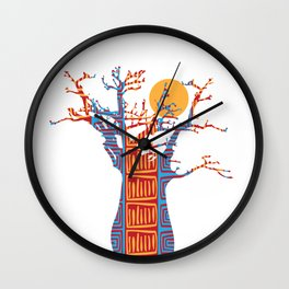 African Baobab tree of life at Sunset Wall Clock