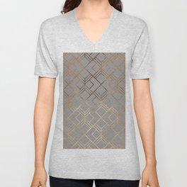 Modern elegant gray gold foil geometrical gradient Unisex V-Neck