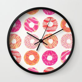 Half Dozen Donuts – Pink & Peach Ombré Wall Clock