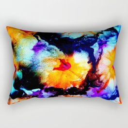 Colorful Abstract Flower Painting Orange Purple Black Rectangular Pillow