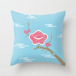 Plum and Dragon Throw Pillow