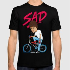 Sad Black SMALL Mens Fitted Tee