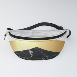 Stone Arrow Pattern - White & Black Marble & Gold #147 Fanny Pack