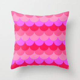 Scalloped Confetti in Neon Coral Reef Throw Pillow