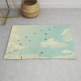 Fly Away - Watercolor Sky with Birds In Flight Rug