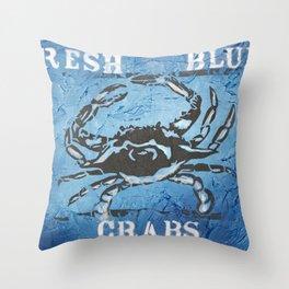 Fresh Blue Crabs Throw Pillow