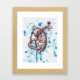Drunk Kitty Framed Art Print