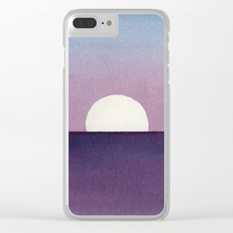 Moonset Watercolor Clear iPhone Case