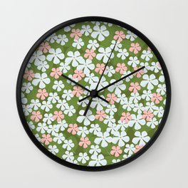 Tiny Little Daisies - Mid Century Inspired Flower Pattern Wall Clock
