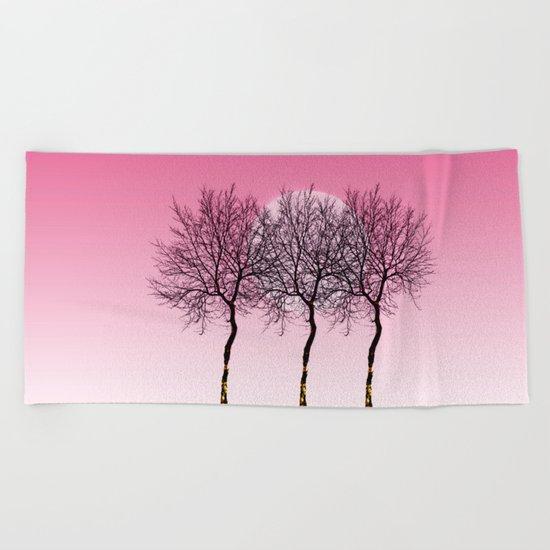 Triplet trees in pink Beach Towel