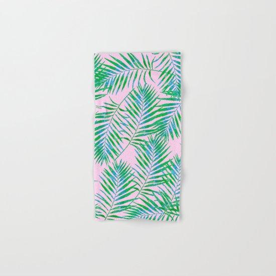 Fern Leaves Pink Hand & Bath Towel
