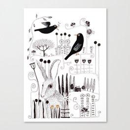 Black birds and bunnies Canvas Print