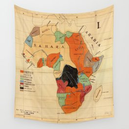1908 Colonization Map of African Continent Color Coded by Occupying Country  Wall Tapestry