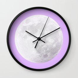 WHITE MOON + LAVENDER SKY Wall Clock