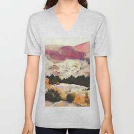 A Winter of Pink Gold Hills by CheyAnne Sexton Unisex V-Neck
