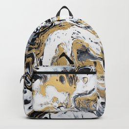Black White and Gold Fluid Abstract Backpack