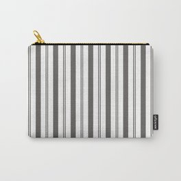 Pantone Pewter Gray & White Wide & Narrow Vertical Lines Stripe Pattern Carry-All Pouch