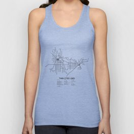 Twin Cities Lines Map Unisex Tank Top