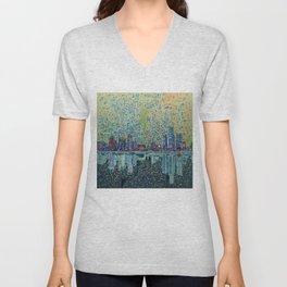 detroit city skyline Unisex V-Neck