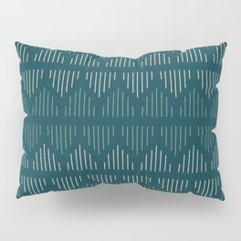 Minimalist Mudcloth 3 in Cream and Olive on Teal Pillow Sham