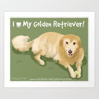 golden retriever Art Prints featuring Golden Retriever by Bark Point Studio