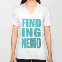 nemo V-neck T-shirts featuring Finding Nemo by Garrett McDonald